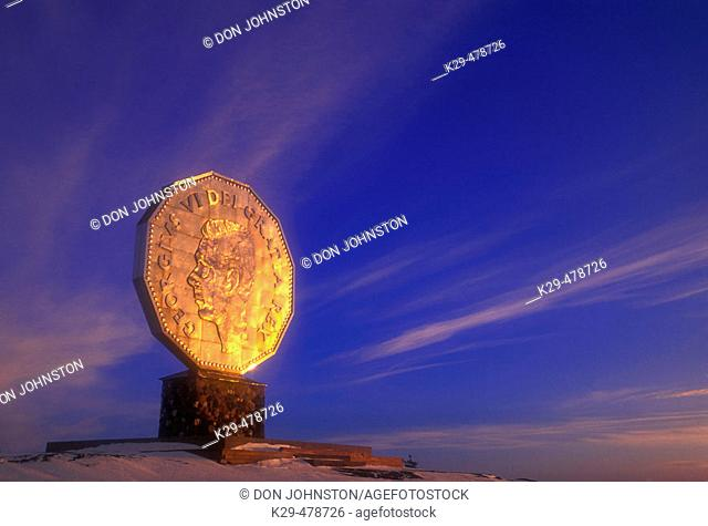 Winter skies and evening light on the Big Nickel. Sudbury. Ontario. Canada