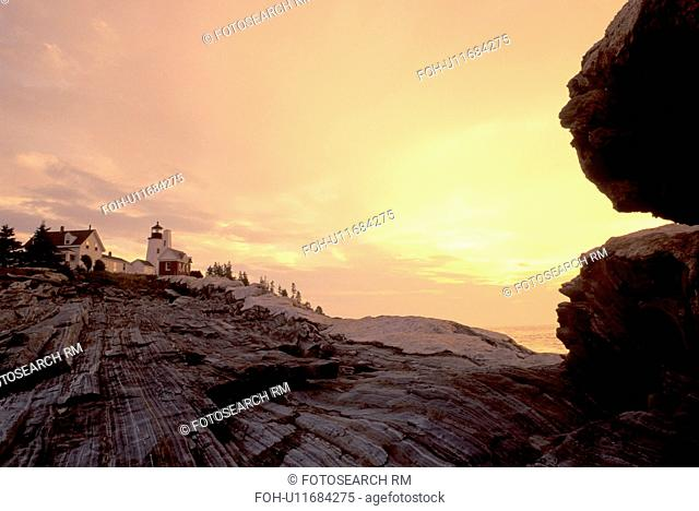 lighthouse, Maine, sunrise, sunset, Pemaquid Point, Bristol, ME, Pemaquid Head Light at sunrise along the rocky coast of the Atlantic Ocean