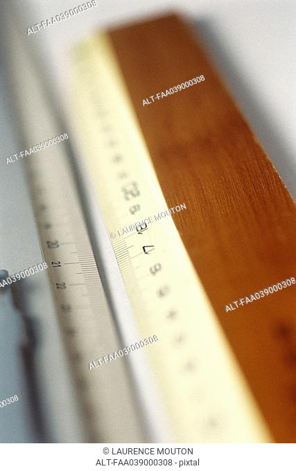 Rulers, extreme close-up