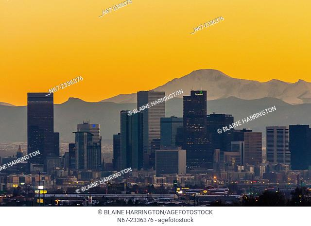 Downtown Denver (with Pikes Peak in background), Colorado USA