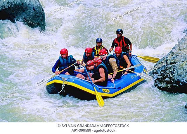 Rafting near Jarabacoa, La Vega province. Cordillera Central mountains, Domenican Republic, Spanish Caribbean