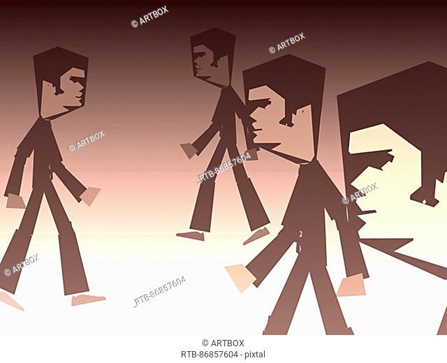 Side profile of four men walking