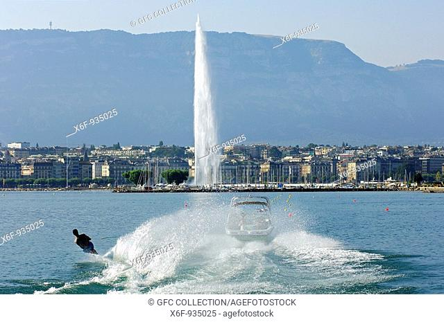 Water skiing in the Rade in front of the giant fountain Jet d'Eau, Lac Geneva, Geneva, Switzerland