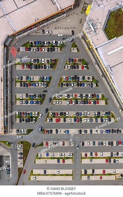 Parking lot, Sterkrade center, Sterkrade, aerial view of Oberhausen-Nord