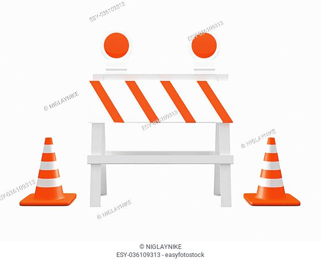 Road barrier or construction sign with lights and group of highway traffic cones with white stripes, front view, isolated on white background