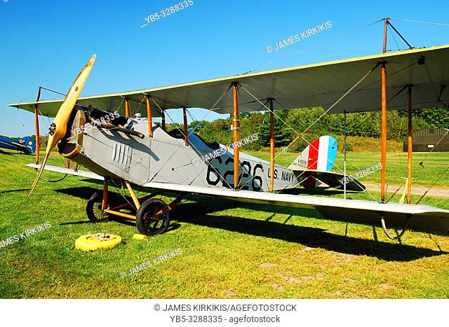 A Curtiss JN 4H 1 is on display at the Rhinebeck Aerodrome