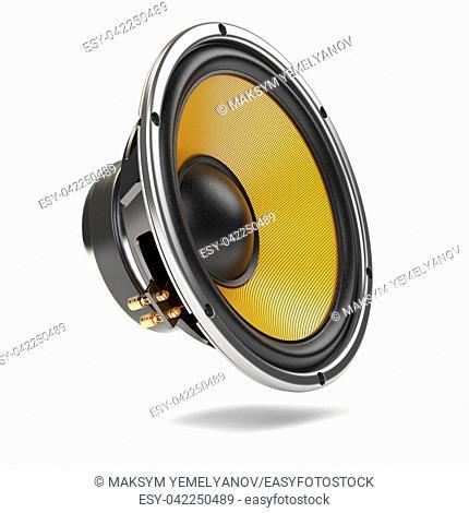 Loudspeaker. Multimedia acoustic sound speaker isolated on white background. 3d illustration