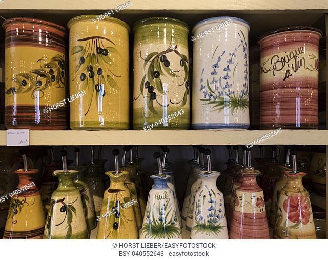 Ceramics in Les Baux de Provence. Bouches du Rhone, Provence, France, Europe