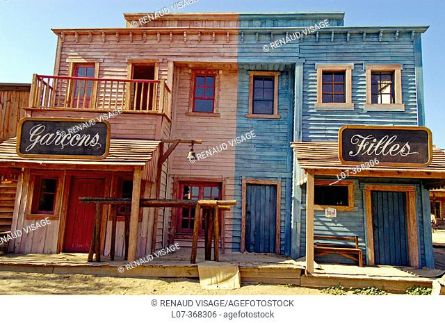 Film set of old Western building at Texas Hollywood near Tabernas. Andalucia. Spain