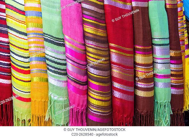 Silk and cotton scarves, colored, tourist shop, Marrakech, Morocco
