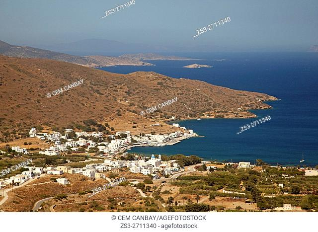 View to the port town Katapola from the altitude, Amorgos, Cyclades Islands, Greek Islands, Greece, Europe