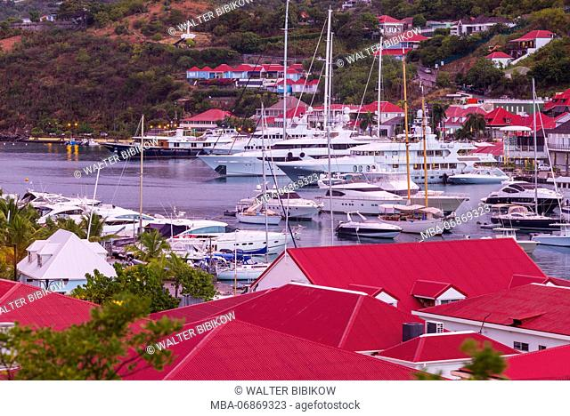 French West Indies, St-Barthelemy, Gustavia, Gustavia Harbor, elevated view, dawn