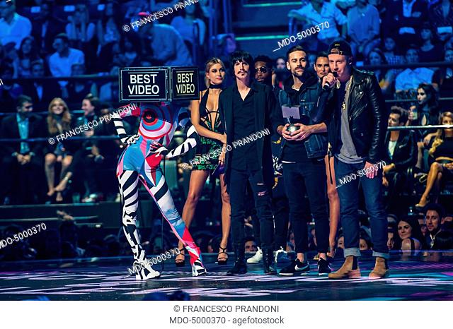 The artists Macklemore (Benjamin Haggerty) and Ryan Lewis winning the Best Video Prize at the MTV Europe Music Awards. Beside and behind them
