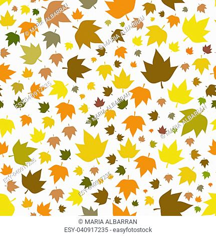 Autumn leaves seamless pattern for new background. Vector illustration