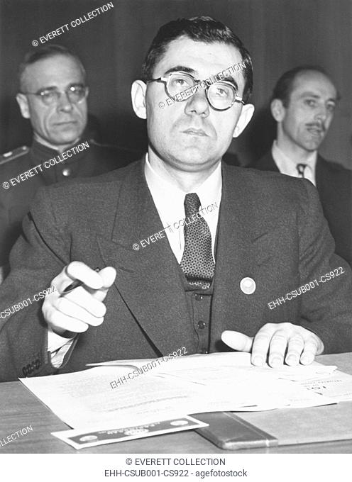 Russian Andrei Gromyko requested removal of USSR-Iranian dispute from UN Security Council Agenda. March 26, 1946. The dispute involved Russian troops in Iran...