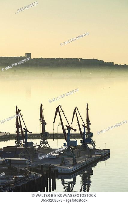 Azerbaijan, Baku, high angle view of the Port of Baku, dawn