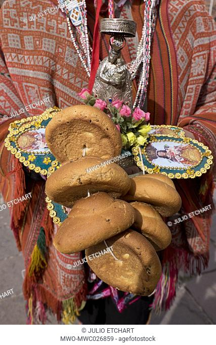 Native Quechua people celebrate the day of San Jeronimo, the patron saint of the city