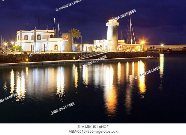 Yacht harbour Marina Rubicon, lighthouse, Playa Blanca, Lanzarote, Canary islands, Spain