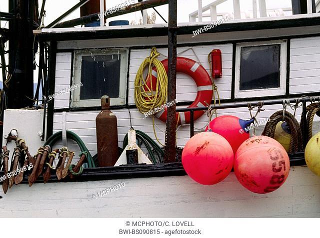 The colorful fishing floats of a boat at dock in SEWARD HARBOR, USA, Alaska