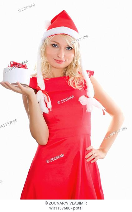 Christmas girl with gifts isolated