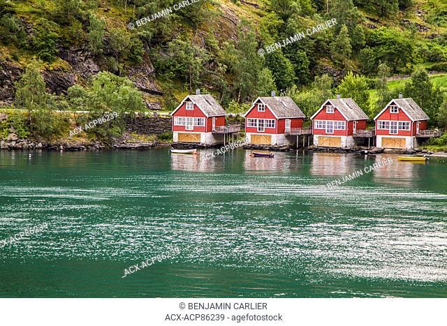 Boathouses in the Aurlandsfjord, Flîm, Norway