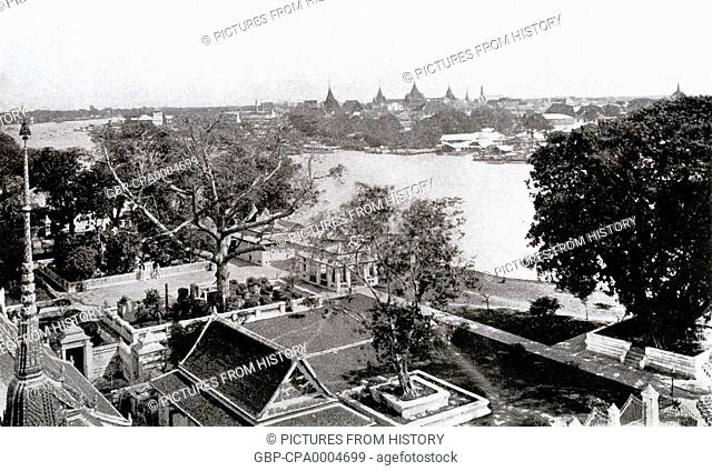 Thailand: The view looking upriver to the Grand Palace and Wat Phra Kaew from Wat Arun, Bangkok, c. 1900