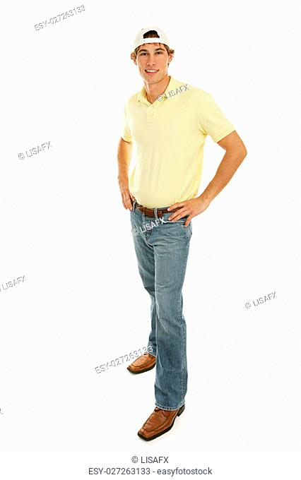 Handsome casual college aged male. Full body isolated on white