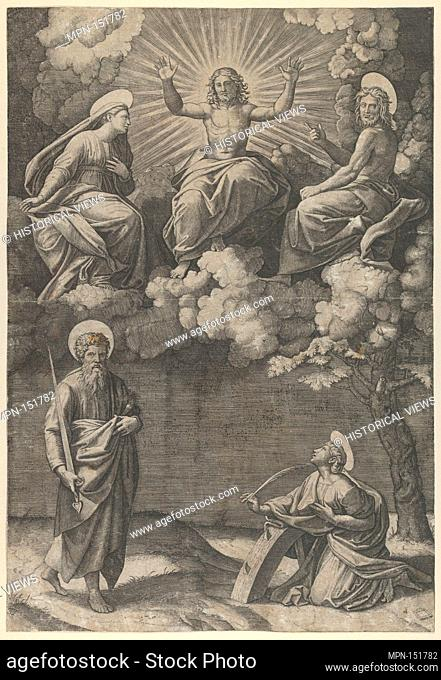 Christ flanked by the Virgin and St. John in the upper section, St. Paul and St. Catherine below. Artist: Marcantonio Raimondi (Italian, Argini (?) ca