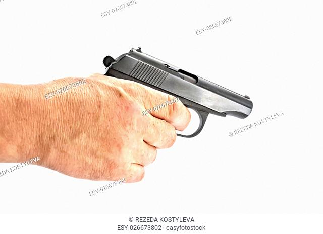 Black gun in a man's hand isolated on white background