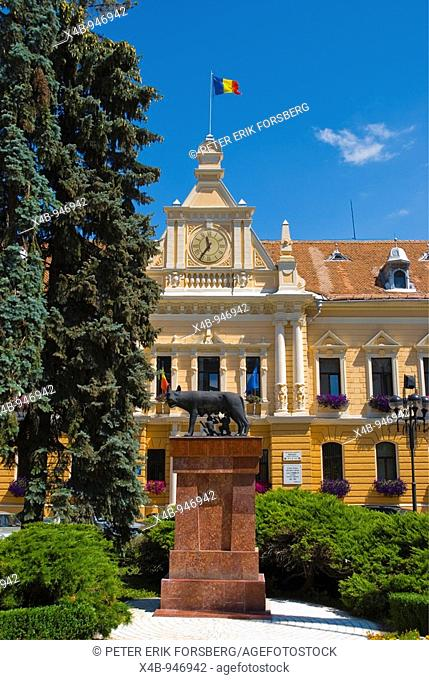 City Hall and the statue of the She Wolf with Romulus and Remus in Brasov Transylvania Romania