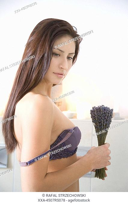 young woman with lavender