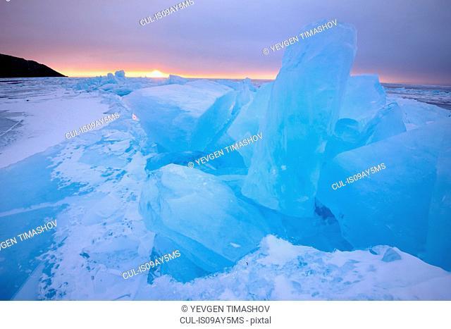 Stacked broken ice, Baikal Lake, Olkhon Island, Siberia, Russia