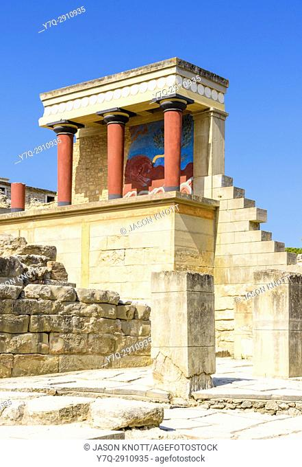 Partly restored North Entrance with charging bull fresco Knossos, Heraklion, Crete, Greece