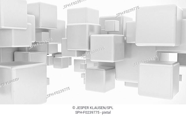 Abstract 3d cubes, computer illustration