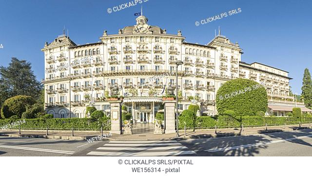 Stresa, Verbano-Cusio-Ossola, Piedmont, Italy. Panoramic front view of the Grand Hotel des Iles Borromees