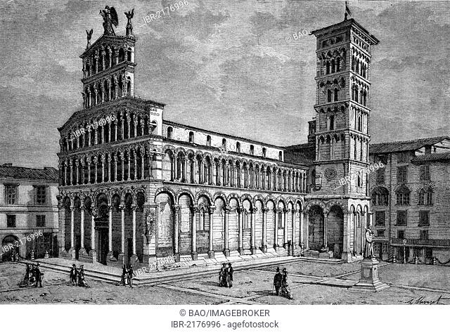 The church of San Michele in Lucca, Tuscany, Italy, historic engraving of 1883