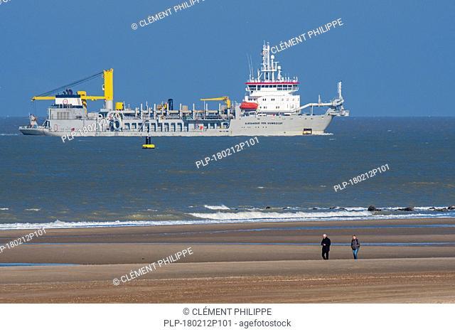 Trailing suction hopper dredger Alexander von Humboldt from Dredging and Marine Works Jan De Nul at work along the North Sea coast