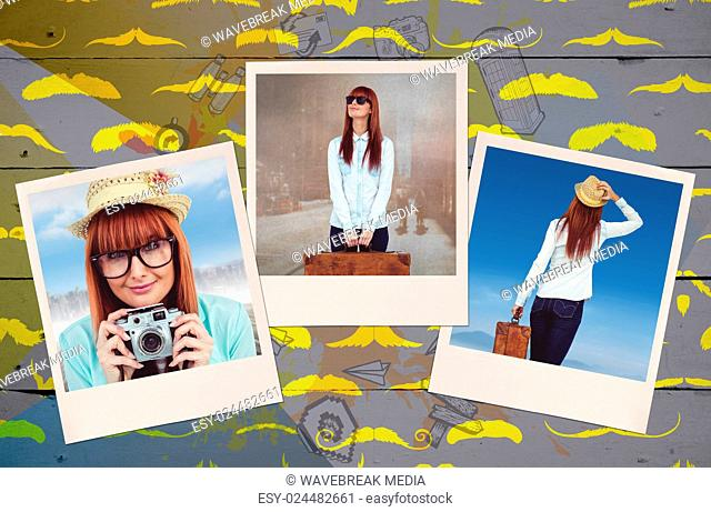 Composite image of portrait of a smiling hipster woman holding retro camera