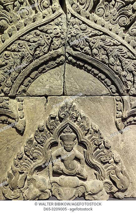 Cambodia, Siem Reap, Angkor National Museum, detai of Angkor-era frieze