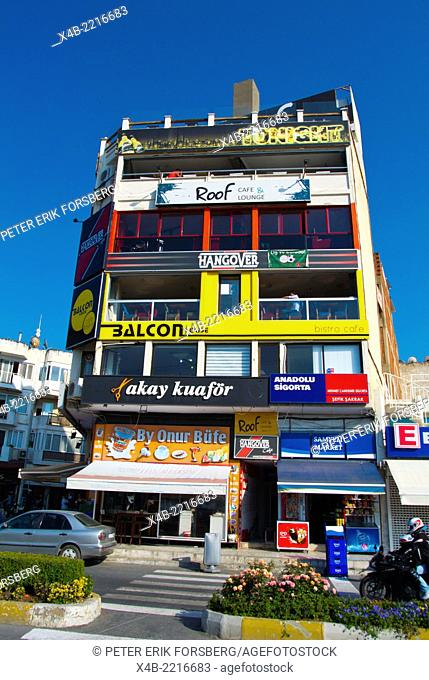 Building with bars on every floor,Atatürk boulevard, Kusadasi, Turkey, Asia Minor