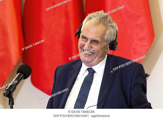 Czech President Milos Zeman answers the journalists questions during a news conference with his Polish counterpart Andrzej Duda in Warsaw, Poland, on May 10