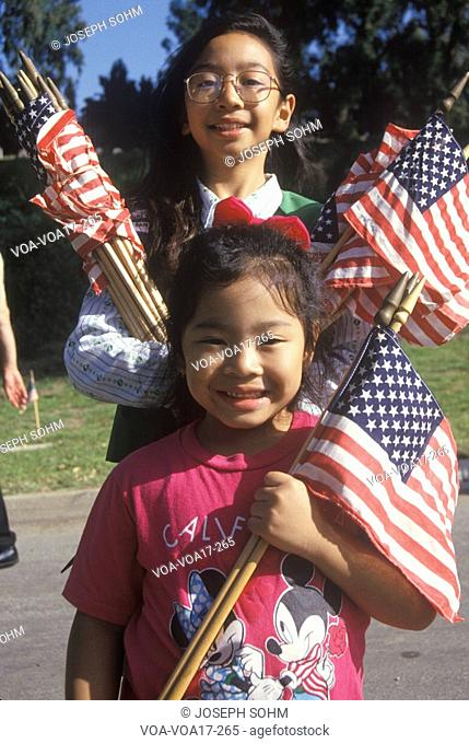 Philippine-American Girls with American Flags, Los Angeles, California