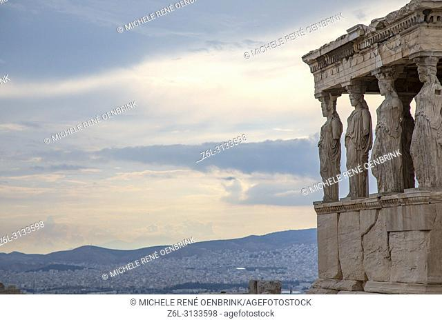 Caryatids Erechtheion on Parthenon Athens Greece
