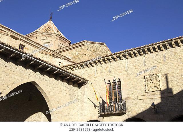 Medieval architecture in Cantavieja village Maestrazgo county. Teruel, Aragon, Spain. Gothic main square