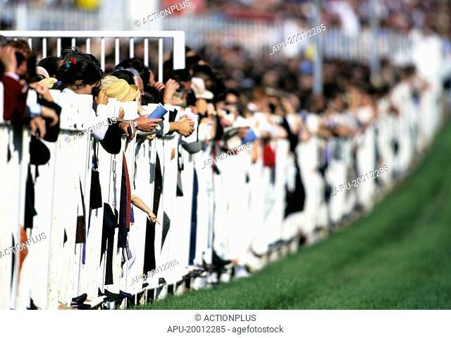Spectators line the railings as a race horse meeting