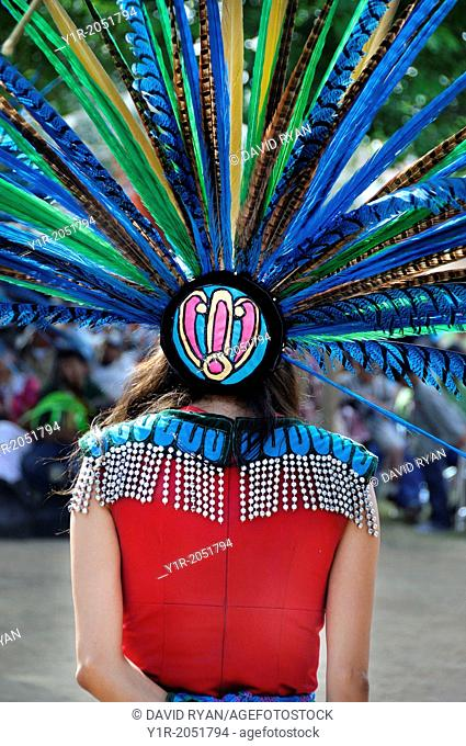 Cupa Day Festival, Pala Indian Reservation, Aztec dance troup, woman in Aztec head dress