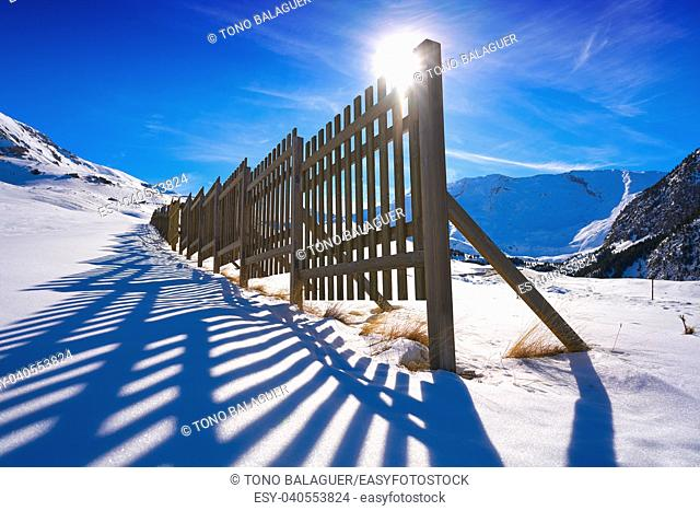 Cerler wooden snow fence in Pyrenees of Huesca in Spain