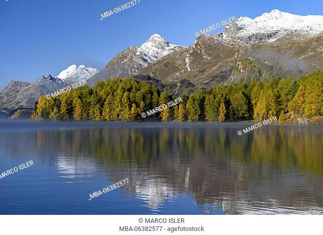 Autumn at the Silsersee, Switzerland, Canton of Grisons, the Engadine