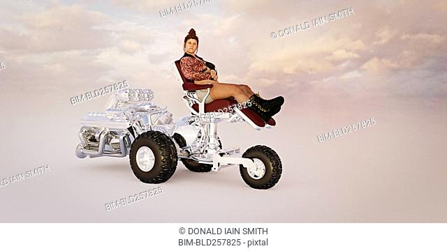 Woman riding powerful luxury tricycle