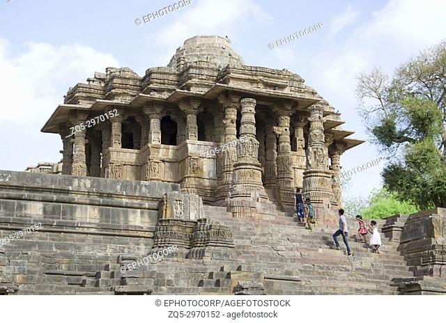 Outer view of the Sun Temple. Built in 1026 - 27 AD during the reign of Bhima I of the Chaulukya dynasty, Modhera village of Mehsana district, Gujarat, India